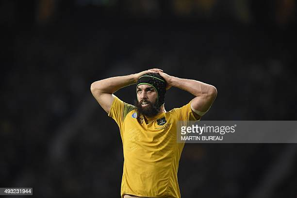 Australia's flanker Scott Fardy reacts during a quarter final match of the 2015 Rugby World Cup between Australia and Scotland at Twickenham stadium...