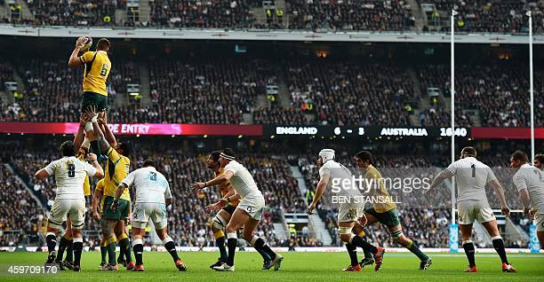 Australia's flanker Sean McMahon wins the ball in the lineout during the Autumn International rugby union Test match between England and Australia at...