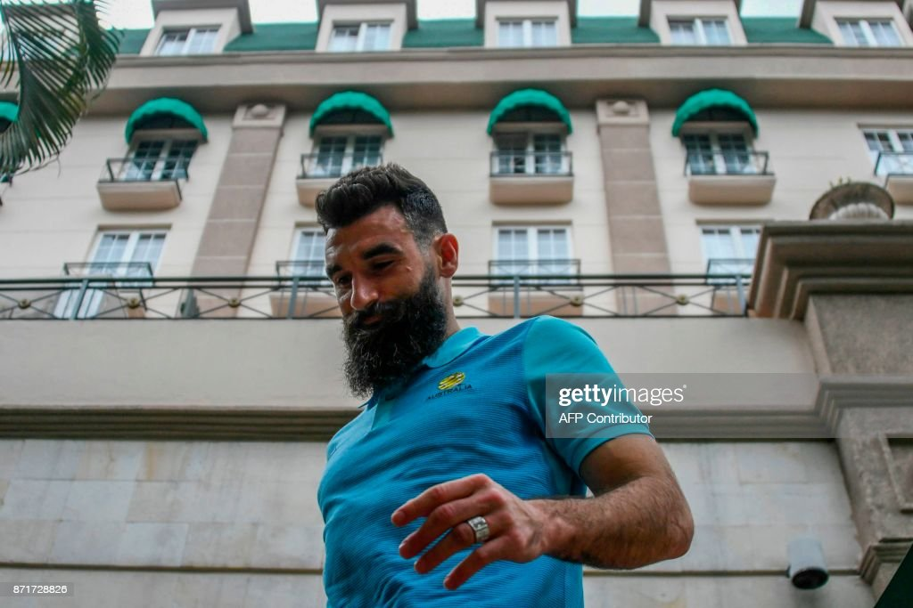 Australia's footballer Mile Jedinak is pictured at the hotel in San Pedro Sula, Honduras, on November 8, 2017 just days ahead of the first leg football match of their 2018 World Cup qualifying play-off against Honduras. / AFP PHOTO / Orlando SIERRA