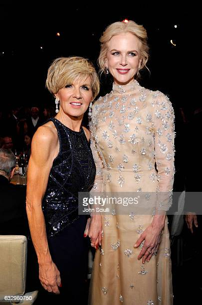 Australia's Foreign Minister Julie Bishop and actress Nicole Kidman attend the 2017 G'Day Black Tie Gala at Governors Ballroom At Hollywood And...
