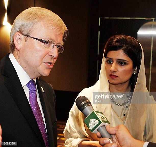 Australia's Foreign Minister Kevin Rudd is interviewed after signing a Memorandum of Understanding with Pakistan's Foreign Minister Hina Rabbani Khar...