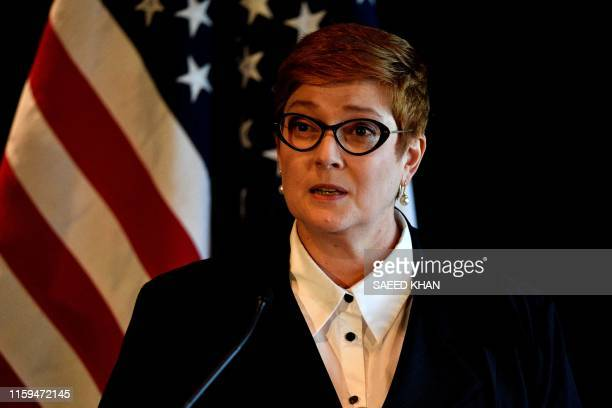 Australia's Foreign Minister Marise Payne apeaks at a joint press conference with US Secretary of Defence Mark Esper, US Secretary of State Mike...