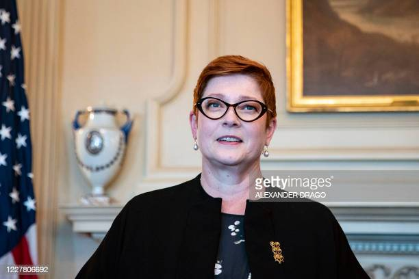 Australia's Foreign Minister Marise Payne looks on as she meets with US Secretary of State Mike Pompeo at the State Department in Washington, DC,...