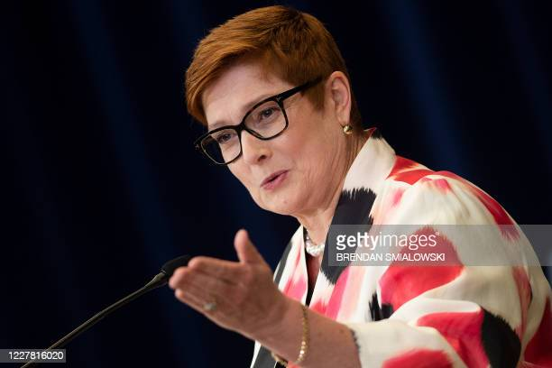 Australia's Foreign Minister Marise Payne speaks during a press conference at the US Department of State following the 30th AUSMIN on July 28 in...