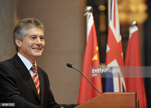 Australias Foreign Minister Stephen Smith speaks in Hong Kong on May 06 2008 Smith was giving a speech on the AustraliaHong Kong connection to the...