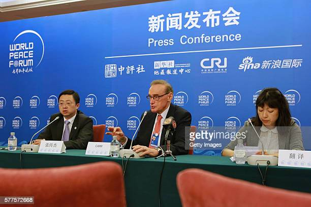 Australia's former Foreign Minister Bob Carr attends a press conference to discuss security cooperation of South China Sea during the fifth World...