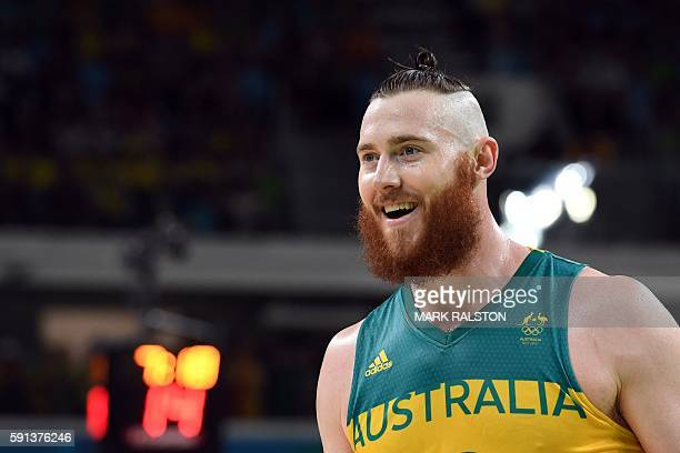 Australia's forward Aron Baynes smiles during a Men's quarterfinal basketball match between Australia and Lithuania at the Carioca Arena 1 in Rio de...