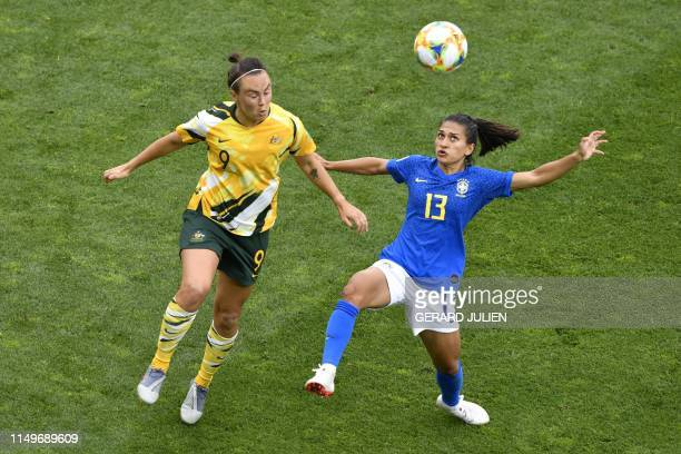 Australia's forward Caitlin Foord vies for the ball with Brazil's defender Leticia Santos during the France 2019 Women's World Cup Group C football...