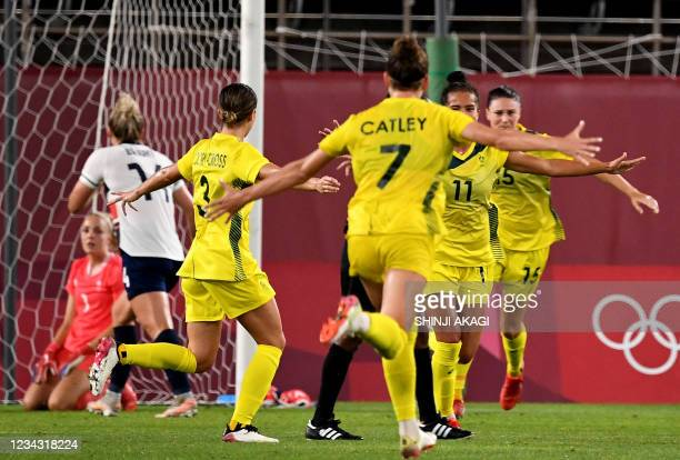 Australia's forward Mary Fowler celebrates her goal with teammates during extra first half of the Tokyo 2020 Olympic Games women's quarter-final...