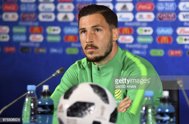 Australia's forward Mathew Leckie attends a press conference at the Kazan Arena on June 15 2018 in Kazan on the eve of the Russia 2018 World Cup...