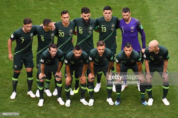 Australia's forward Mathew Leckie Australia's defender Mark Milligan Australia's defender Trent Sainsbury Australia's midfielder Mile Jedinak...