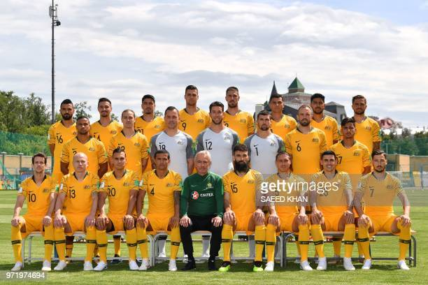 Australia's forward Robbie Kruse midfielder Aaron Mooy defender Trent Sainsbury forward Tim Cahill coach Bert van Marwijk midfielder Mile Jedinak...
