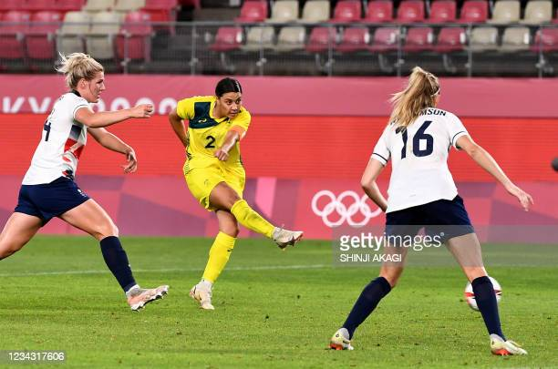 Australia's forward Sam Kerr shoots for a goal during first extra half of the Tokyo 2020 Olympic Games women's quarter-final football match between...