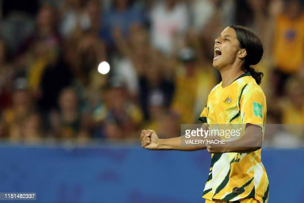 Australia's forward Samantha Kerr celebrates a goal that was later disallowed for offside during the France 2019 Women's World Cup round of sixteen...