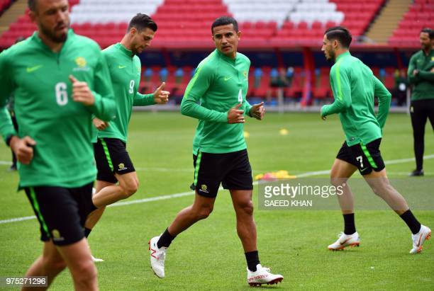 Australia's forward Tim Cahill attends a training session with teammates at the Kazan Arena on June 15 2018 in Kazan on the eve of the Russia 2018...