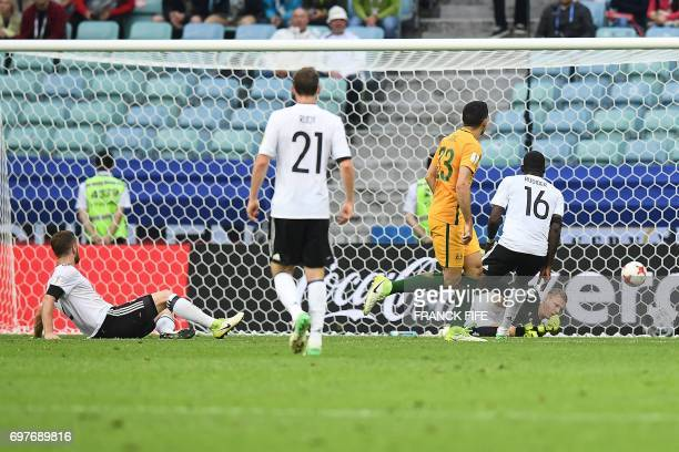 Australia's forward Tommy Rogic scores a goal during the 2017 Confederations Cup group B football match between Australia and Germany at the Fisht...
