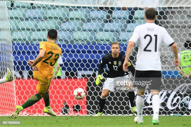 TOPSHOT Australia's forward Tommy Rogic shoots to score during the 2017 Confederations Cup group B football match between Australia and Germany at...