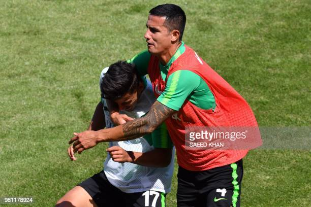 Australia's forwards Tim Cahill and Daniel Arzani take part in a training session of Australia national team in Kazan on June 22 during the Russia...