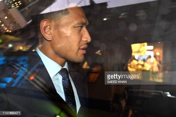 Australia's fullback Israel Folau leaves after a code of conduct hearing in Sydney on May 7 2019 NSW Waratahs chairman Roger Davis on May 7 called...