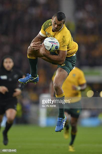 Australia's fullback Kurtley Beale catches the ball during the final match of the 2015 Rugby World Cup between New Zealand and Australia at...