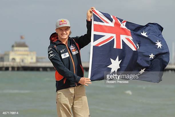 Australia's future star of MotoGP Jack Miller poses with the Australian flag after cooking an Aussie BBQ on the foreshore of St Kilda Sea Baths on...