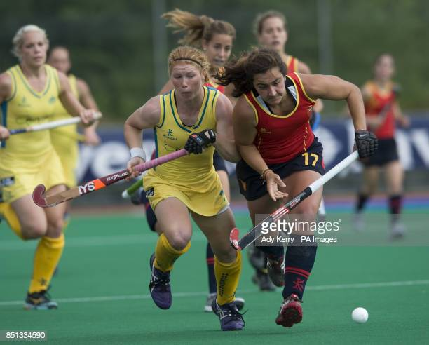 Australia's Georgia Nanscawen challenges with the Spain's Lola Riera Zuzuarregui during their opening group game in the Investec World League Semi...