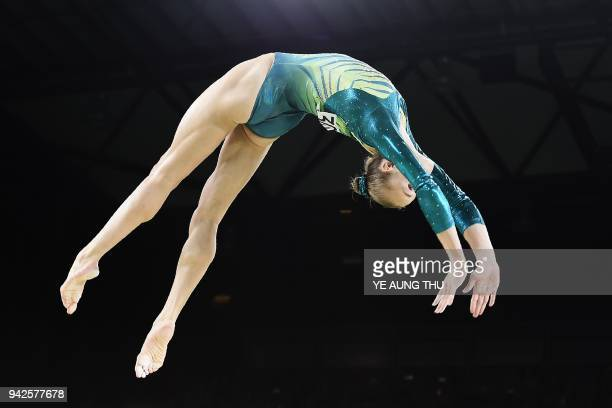 Australia's Georgia-Rose Brown competes on the balance beam during the women's team final and individual qualification in the artistic gymnastics...