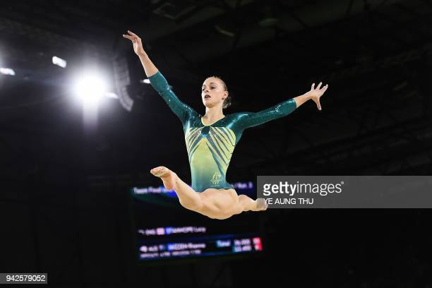 Australia's Georgia-Rose Brown competes on the floor exercise during the women's team final and individual qualification in the artistic gymnastics...