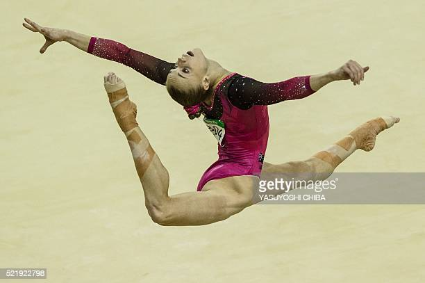 Australia's GeorgiaRose Brown performs on the floor during the artistic gymnastics test event for the Rio 2016 Olympic Games at the Rio Olympic Arena...