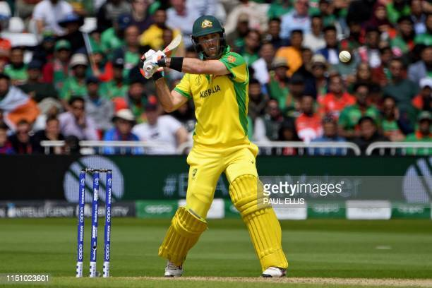 Australia's Glenn Maxwell plays a shot during the 2019 Cricket World Cup group stage match between Australia and Bangladesh at Trent Bridge in...