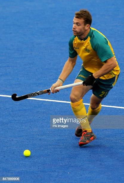 Australia's Glenn Simpson in action against Germany during the Visa International Invitational Hockey Tournament at the Riverbank Arena London