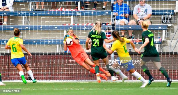 Australia's goalkeeper Lydia Williams grabs the ball during the Tournament of Nations football match against Brazil at Children's Mercy Park in...