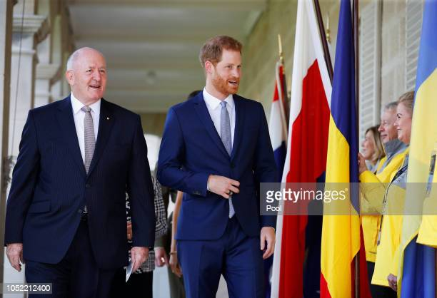 Australia's Governor General Peter Cosgrove and Prince Harry, Duke of Sussex attend a Welcome Event at Admiralty House on October 16, 2018 in Sydney,...