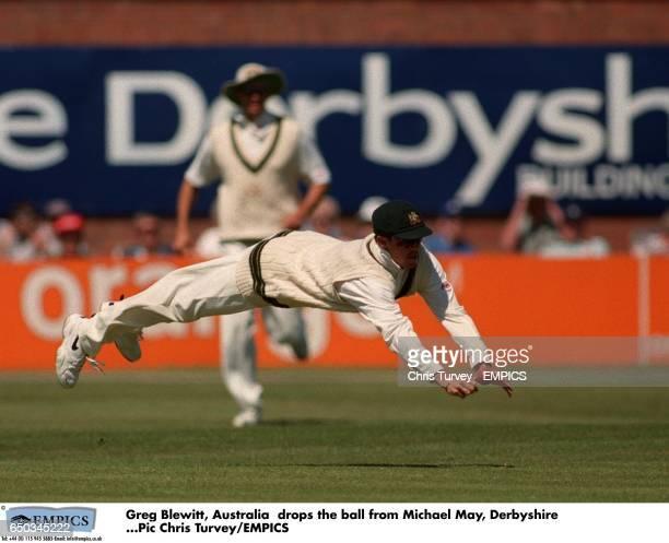 Australia's Greg Blewitt drops a shot from Michael May of Derbyshire