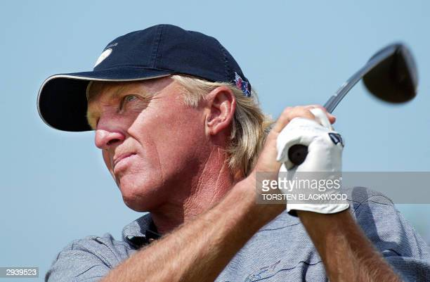 Australia's Greg Norman, ranked 220th in the world, tees off for the third round of the Heineken Classic at the Royal Melbourne golf course, 07...
