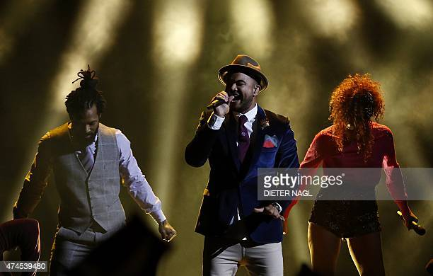 Australia's Guy Sebastian performs during the Eurovision Song Contest final on May 23 2015 in Vienna AFP PHOTO / DIETER NAGL