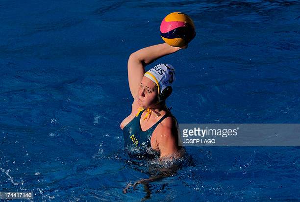 Australia's Hannah Buckling prepares a shoot during the preliminary rounds of the women's water polo against South Africa at the FINA World...