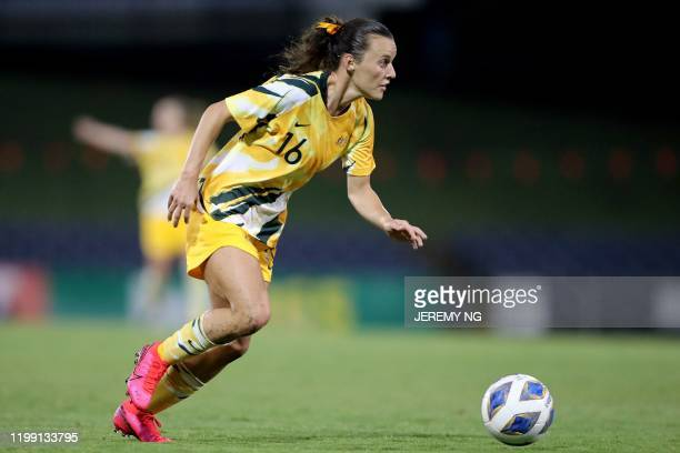 Australias Hayley Raso controls the ball during the women's Olympic football tournament qualifier match between Taiwan and Australia at Campbelltown...