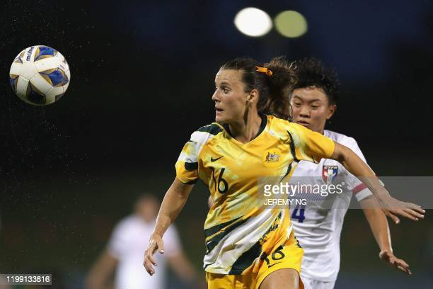 Australias Hayley Raso gains possession during the women's Olympic football tournament qualifier match between Taiwan and Australia at Campbelltown...