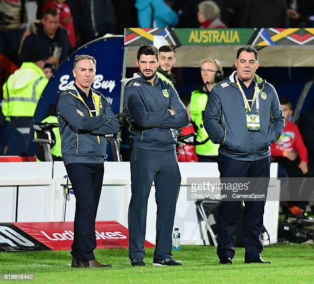 Australia's head coach Mal Meninga right during the prematch warm up before the Four Nations match between the Australian Kangaroos and Scotland at...