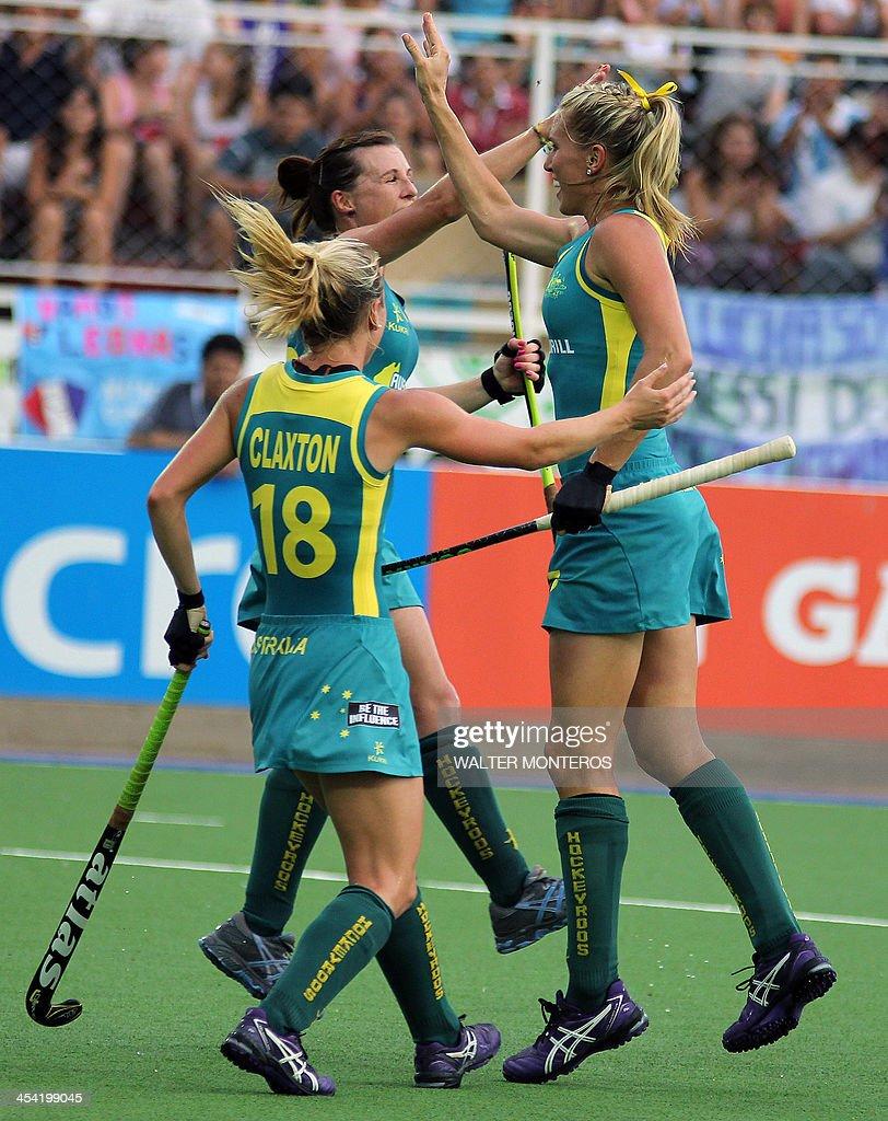 Australia's hockey players celebrate after scoring against England during their Women's Hockey World League semi-final match in Tucuman, Argentina, on December 7, 2013. Australia won 3-0.