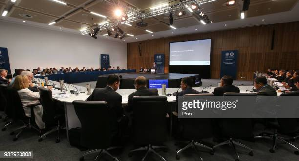 Australia's Home Affairs Minister Peter Dutton center at back gives opening remarks for the Counter Terrorism Conference at the Association of...