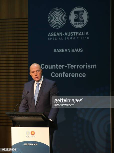 Australia's Home Affairs Minister Peter Dutton gives opening remarks for the Counter Terrorism Conference at the Association of Southeast Asian...