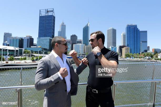 Australia's inaugral UFC champion Robert Whittaker and American contender Luke Rockhold pose at Elizabeth Quay after a press conference on December...