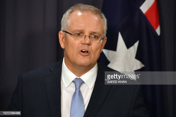 Australia's incoming Prime Minister Scott Morrison speaks at a press conference in Canberra on August 24 2018 Scott Morrison was installed as...