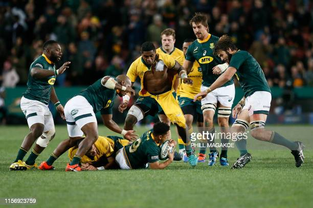 Australia's Isi Naisarani and South Africa's Herschel Jantjies fight for the ball during the 2019 Rugby Championship match South Africa v Australia...