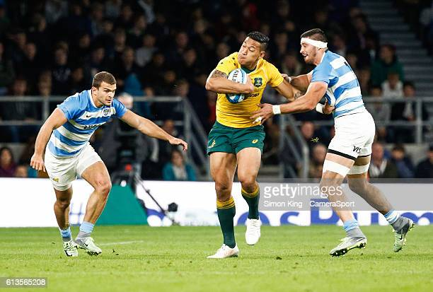 Australia's Israel Folau under pressure from Argentina's Javier Ortega Desio during the Rugby Championship match between Argentina and Australia at...