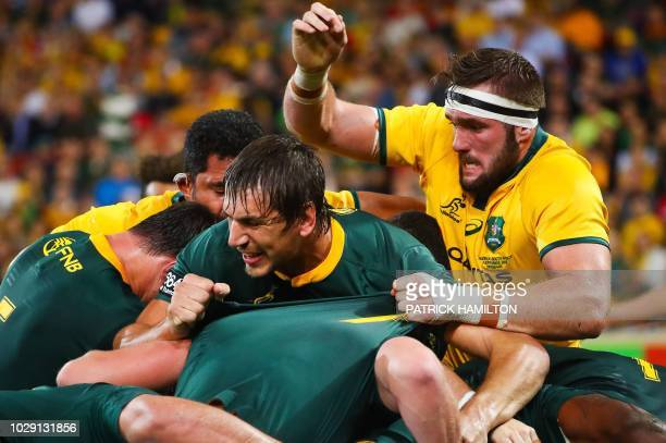 Australia's Izack Rodda tackles South Africa's Eben Etzebeth during the Rugby Championship Test match between Australia and South Africa at Suncorp...