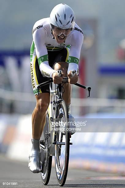 Australia's Jack Bobridge powers to win the under-23 men's time trial world road race championships in Mendrisio on September 23, 2009. Bobridge...