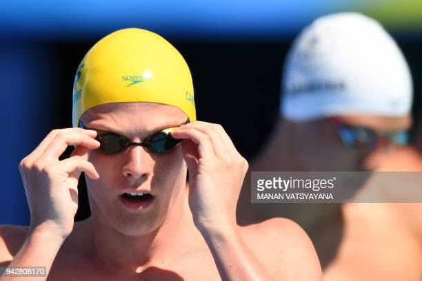 Australia's Jack Cartwright prepares for the swimming men's 100m freestyle qualifications during the 2018 Gold Coast Commonwealth Games at the Optus...